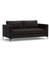 """Jake Leather Loveseat 70"""", Polyester Wrapped Cushions, Leather Vintage Midnight"""