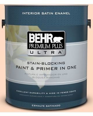 BEHR Premium Plus Ultra 1 gal. #250A-3 Whispering Peach Satin Enamel Interior Paint and Primer in One