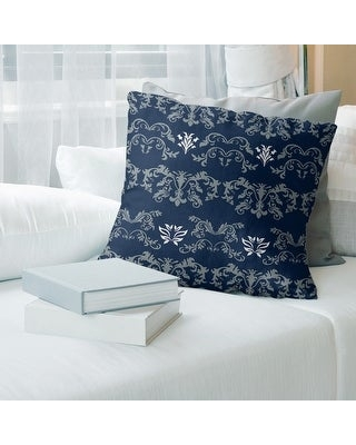 Dallas Football Baroque Pattern Accent Pillow-Faux Suede (18 x 18 - Silver/Blue/White - Accent)