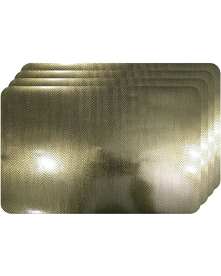 Dainty Home Crocodile Skin Champagne Metallic Textured Placemat (Set of 4), Beige