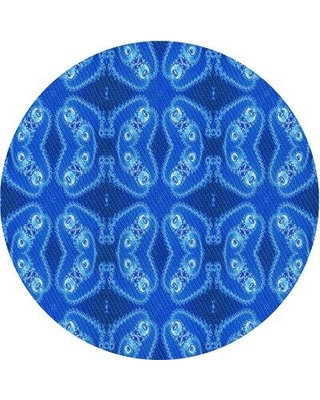 East Urban Home Casares Geometric Wool Light Blue Area Rug W002176979 Rug Size: Round 3'