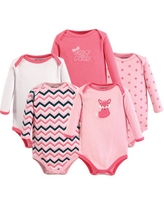 Luvable Friends Baby Girl Long Sleeve Bodysuits, 5-Pack