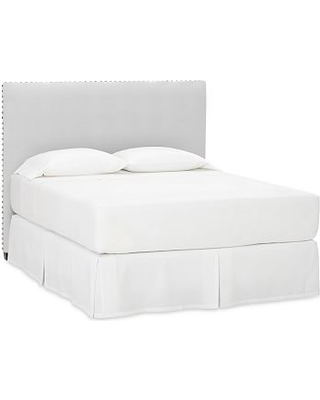 Raleigh Upholstered Square Headboard with Pewter Nailheads, Queen, Performance Twill Warm White