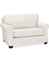 Buchanan Roll Arm Upholstered Twin Sleeper Sofa, Polyester Wrapped Cushions, Denim Warm White