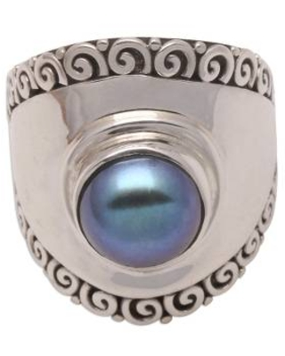Peacock Cultured Pearl Cocktail Ring Crafted in Bali
