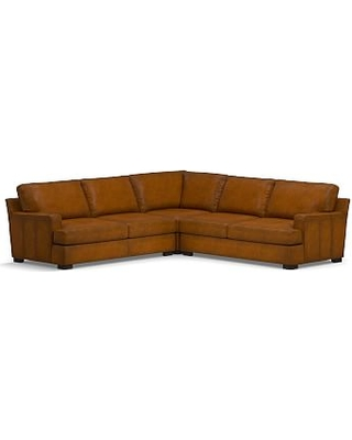 Townsend Square Arm Leather 3-Piece L-Shaped Corner Sectional, Polyester Wrapped Cushions, Leather Burnished Bourbon