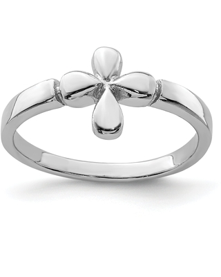 Sterling Silver Rhodium-plated Child's Polished Cross Ring by Versil (4)