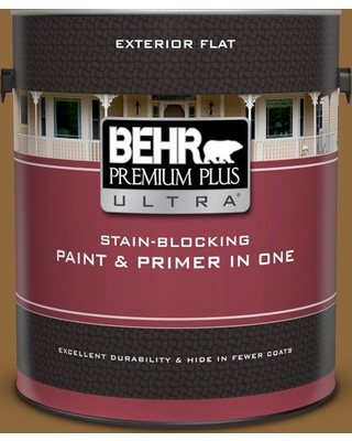 BEHR Premium Plus Ultra 1 gal. #300D-7 Spanish Leather Flat Exterior Paint and Primer in One