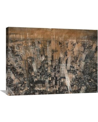 """Global Gallery NYC Aerial 4 by Dario Moschetta Painting Print on Wrapped Canvas GCS-375485- Size: 24"""" H x 32"""" W x 1.5"""" D"""