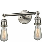 "Bare Bulb 5""H Satin Nickel Adjustable 2-Light Wall Sconce"