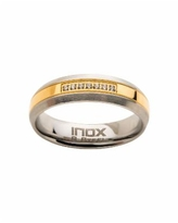 Men's Steel Gold-Tone Plated 7 Piece Clear Diamond Ring - Gold-tone