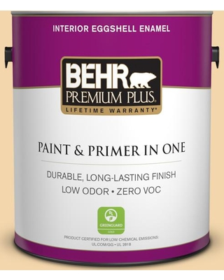 BEHR PREMIUM PLUS 1 gal. #PPU6-08 Pale Honey Eggshell Enamel Low Odor Interior Paint and Primer in One