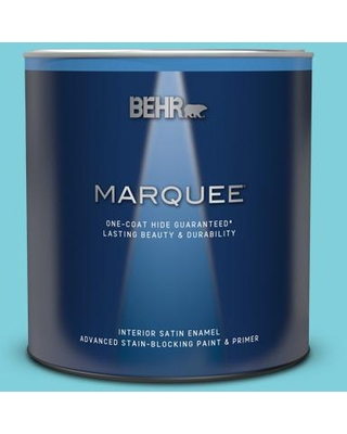 BEHR MARQUEE 1 qt. #P470-3 Sea of Tranquility Satin Enamel Interior Paint & Primer