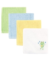 Luvable Friends Baby Boy and Girl Woven Terry Washcloths, 4-Pack - Green Frog