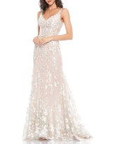 Mac Duggal Floral Strap Corset Gown, Size 4 in Nude Multi at Nordstrom