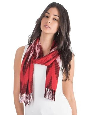 Zigzag Rayon Scarf in Red from Guatemala