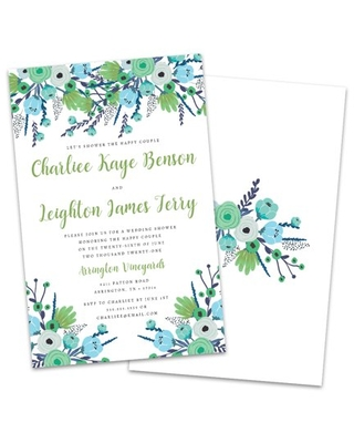 Personalized Blue & Green Floral Wedding Shower Invitation