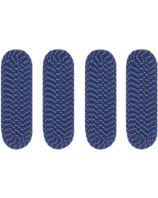 Better Trends Country Braid Collection Durable Stain Resistant Reversible Blue 9 in. x 29 in. Oval Striped Polypropylene Area Rug, Blue Stripe