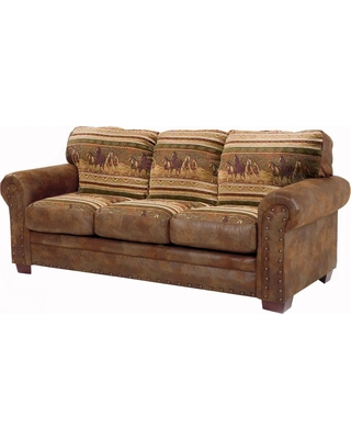 American Furniture Classics Wild Horses Brown Microfiber and Tapestry Brown Pattern with Nail Head Accents Sofa, Brown/Tan