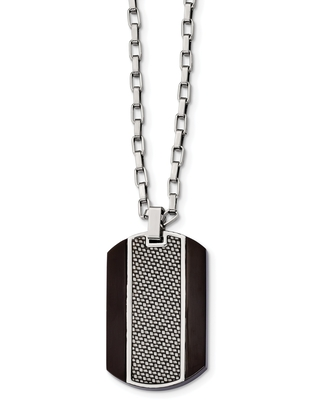 Chisel Stainless Steel Brushed and Polished Black IP-plated Grey Carbon Fiber Inlay Necklace