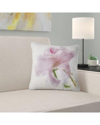 """East Urban Home Floral Flower with Paint Splashes Pillow FUSI4242 Size: 18"""" x 18"""" Product Type: Throw Pillow"""
