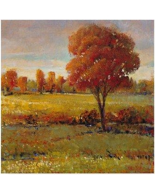 """Charlton Home 'Field in Fall' Acrylic Painting Print on Wrapped Canvas CRLM2734 Size: 14"""" H x 14"""" W x 2"""" D"""