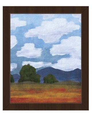 """Click Wall Art Lots of Clouds Field Framed Painting Print on Canvas IZON8575 Format: Espresso Framed Size: 10.5"""" H x 12.5"""" W"""
