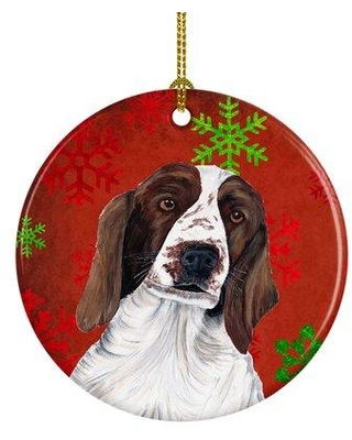 The Holiday Aisle Welsh Springer Spaniel Snowflakes Holiday Christmas Ceramic Hanging Figurine Ornament W001947627