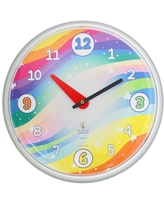 """12.75"""" x 1.5"""" Stars Children's Decorative Wall Clock White Frame - By Chicago Lighthouse"""