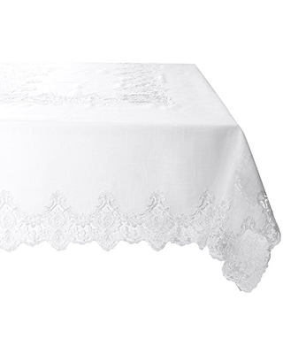 "Violet Linen Imperial Embroidered Vintage Lace Design Oblong/Rectangle Tablecloth, 70"" x 105"", White"