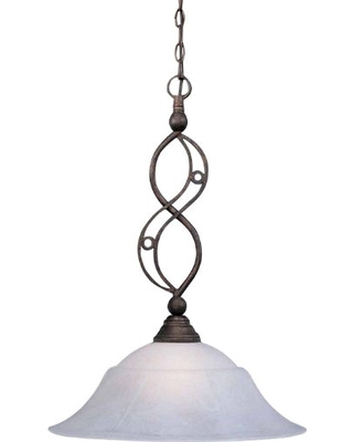 Toltec Lighting 231-BRZ-53815 Jazz One-Light Down light Pendant Bronze Finish with White Marble Glass, 20-Inch