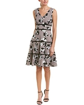 Taylor Dresses Women's Sleeveless Floral Print fit and Flare Dress, Grey Black, 10