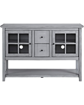 52 in. Antique Grey Wood Console Table Buffet TV Stand, Antiqued Gray