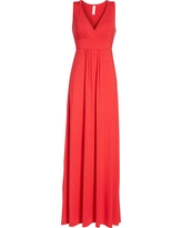 Petite Women's Loveappella V-Neck Jersey Maxi Dress, Size X-Large P - Red