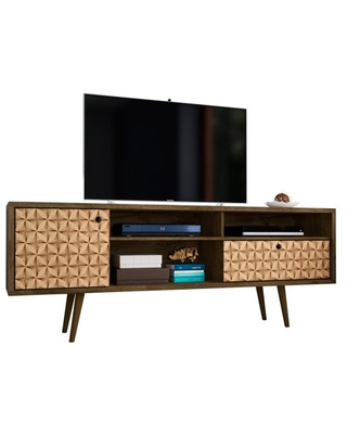 """Liberty 70.86"""" Mid-Century - Modern TV Stand with 4 Shelving Spaces and 1 Drawer in Rustic Brown and 3D Brown Prints"""