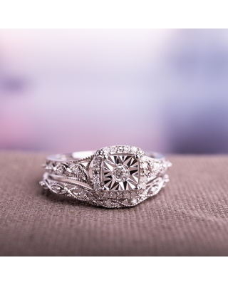 Infinity Halo 1/5ct TDW Diamond Bridal Set in Sterling Silver by Miadora (9)
