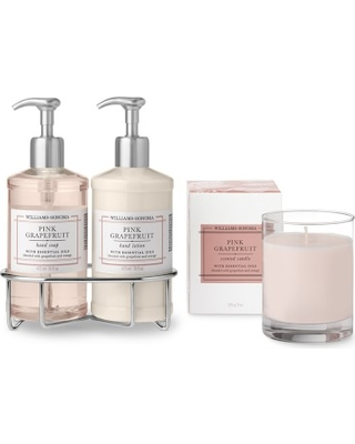 Williams Sonoma Pink Grapefruit Hand Soap & Lotion, Deluxe 6-Piece Set