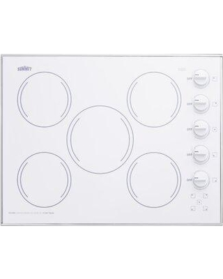 """Summit Appliance Radiant 27"""" Electric Cooktop with 5 Burners CR5B27 Finish: White"""