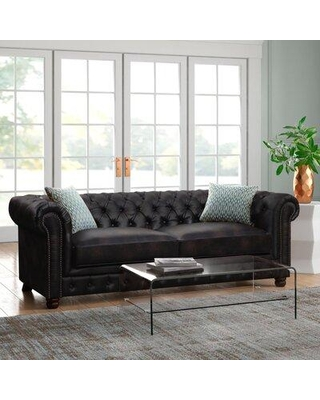 Trent Austin Design® Caine Living Room Set Fabric: Pieces Included: 2 Pieces: 1 Sofa, 1 Loveseat, Faux Leather in Dark Brown Faux Leather   Wayfair