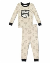 Free 2 Dream Boy and Girls Toddler, Little and Big Bear Hug 2 Piece Cotton Pajama Set with Grow with Me Cuffs - Brown