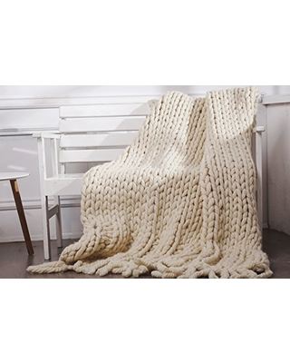 Chunky Wool Blanket Knitted Throw Giant Yarn Super Bulky Blanket 50 x70 inches, To order