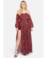 Bebe Women's Off the Shoulder Front Slit Maxi Dress, Size Medium in Scarlet Leopard Polyester/Spandex