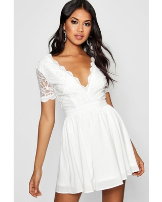 Womens Lace Top Skater Dress - White - 12