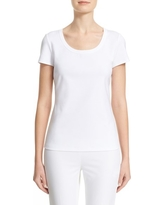 Women's Lafayette 148 New York Scoop Neck Cotton Tee, Size Large - White