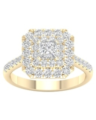 1 3/8ct TDW Princess Cut Diamond Halo Ring in 10k Gold by De Couer (8.5 - Yellow)