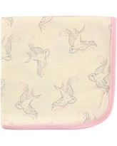 Touched by Nature Baby Boy and Girl Organic Cotton Swaddle Blanket - Pink Bird