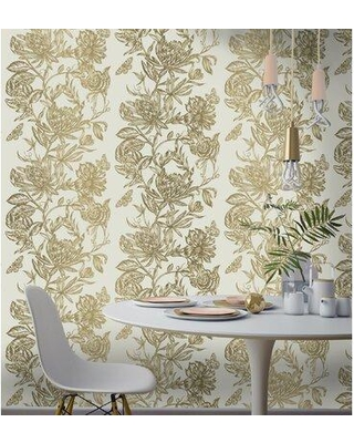 """House of Hampton Montevideo Floral 33' L x 20.5"""" W Wallpaper Roll W000669540 Color: Gray"""