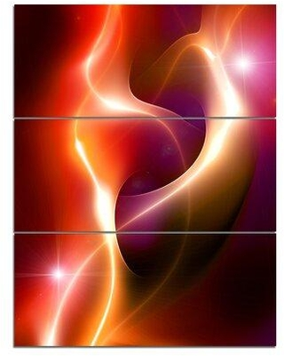 Design Art 'Abstract Warm Red Fractal Design' 3 Piece Graphic Art on Wrapped Canvas Set PT13034-3PV
