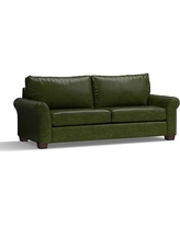 "PB Comfort Roll Arm Leather Grand Sofa 94"", Polyester Wrapped Cushions, Leather Legacy Forest Green"