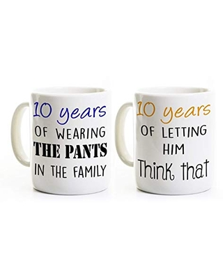 Shopping Special For 10th Anniversary Couples Coffee Mug Set 2 Mugs Humorous Mugs Wearing The Pants Letting Him Think That